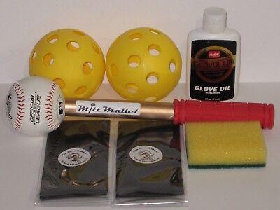 Rawlings Ultimate Baseball Glove Break In Kit ~Break-in Bands~Mallet~Conditioner