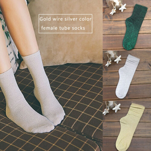 Autumn Winter Women Thick Warm Socks Glitter Shiny Short Mid-Calf Socks Hosiery
