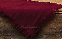 Primitive 100% Soft Cotton Burgundy/wine Burlap Table Runner 13 X 36