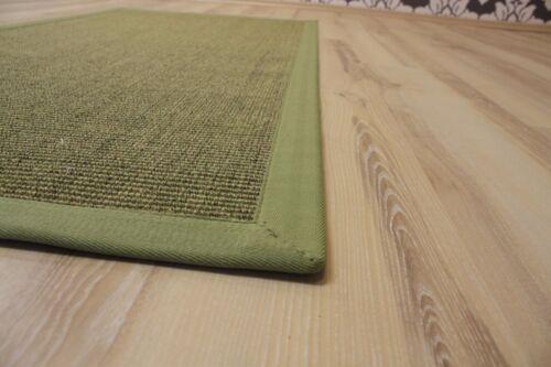 Sisal Teppich Manaus mit Bordüre grün meliert 65x140 cm 100/% Sisal