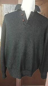 Mens-Abercrombie-amp-Fitch-Wool-Green-Sweater-Elbow-Patches-Large-Leather-Buttons