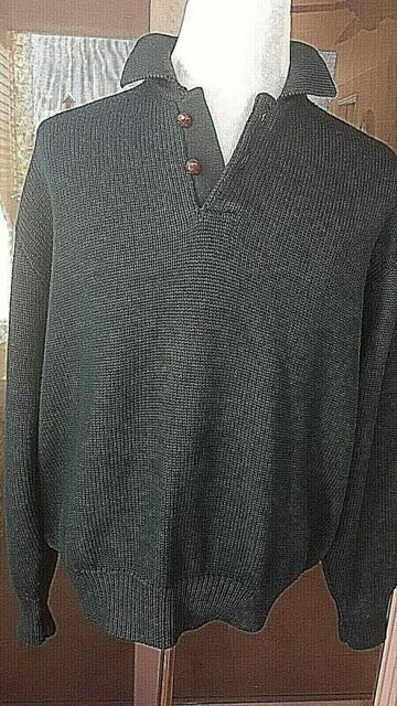 Mens Abercrombie & Fitch Wool Green Sweater Elbow Patches Large Leather Buttons