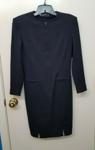 Vintage Claude Montana Paris 1980s Navy Blue Dress