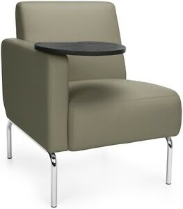 Outstanding Details About Right Arm Modular Lounge Chair With Taupe Vinyl Seat W Tungsten Finish Tablet Inzonedesignstudio Interior Chair Design Inzonedesignstudiocom