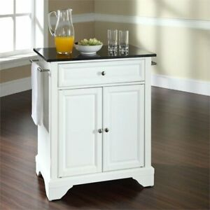 Details about Crosley LaFayette Black Granite Top Portable Kitchen Island  in White
