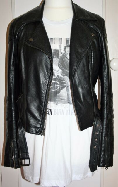 TOPSHOP Black Faux Leather Biker Jacket 10 12 14 Super Soft CLASSIC DOUBLE RIDER