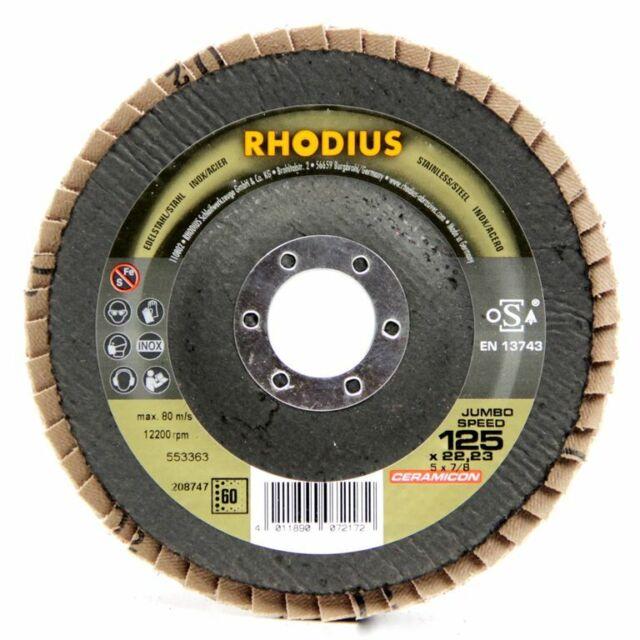 10x RHODIUS Jumbo Speed Lamellenschleifscheibe 125x22,23 Korn 40 208746