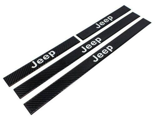 4PCS JEEP Carbon Fiber Car Door Protector Step Sill Scuff Cover Decal Sticker