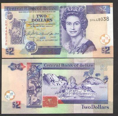Belize 2 Dollars P-66c UNC 2007