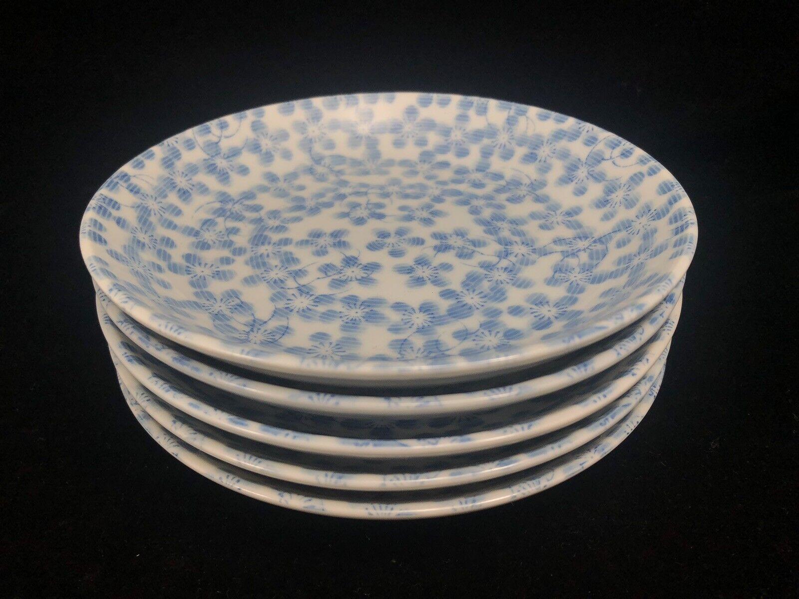 CHERRY PLUM BLOSSOM 6.5  Bread PLATES 5pc Vintage Japanese bluee Floral Porcelain