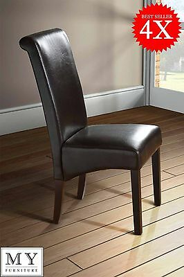 4 x Milano Scroll Roll Back Leather Brown Dining Chairs Dark Legs
