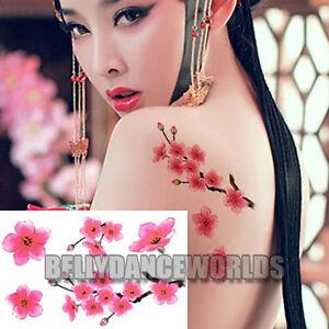 Sexy Cherry Blossom Pink Sakura Flower Arm Leg Temporary Tattoo Body