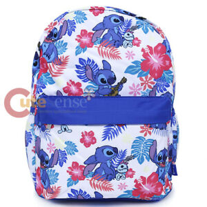 Lilo-and-Stitch-Large-School-Backpack-with-Angel-16-034-AOP-Book-Bag-Ukulele-White