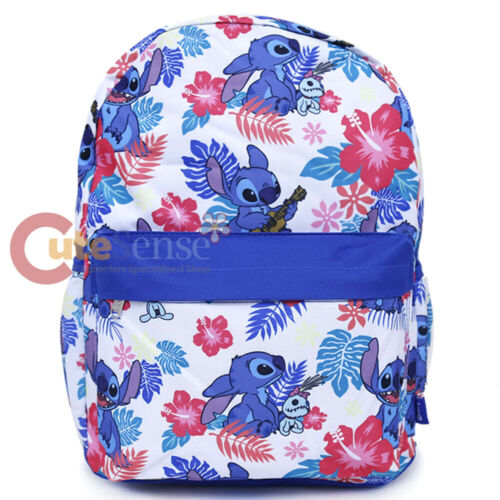 """Lilo and Stitch Large School Backpack with Angel 16/"""" AOP Book Bag Ukulele White"""