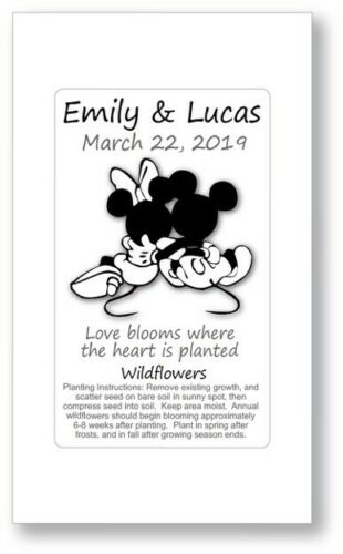 50 Mickey Minnie Disney Wedding Bridal Shower Favors Seed Packets Personalized