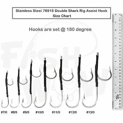 5pcs Size 12//0 Fishing 7691S Double Shark Hook Stainless Assist Hook 180 degree