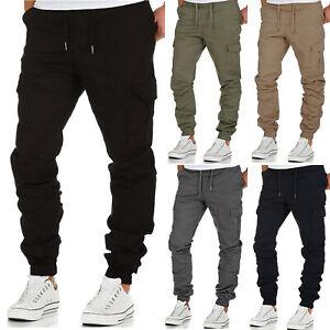 Mens Elasticated Waist Cargo Pants Casual Pocket Work Combat Jogging Trousers