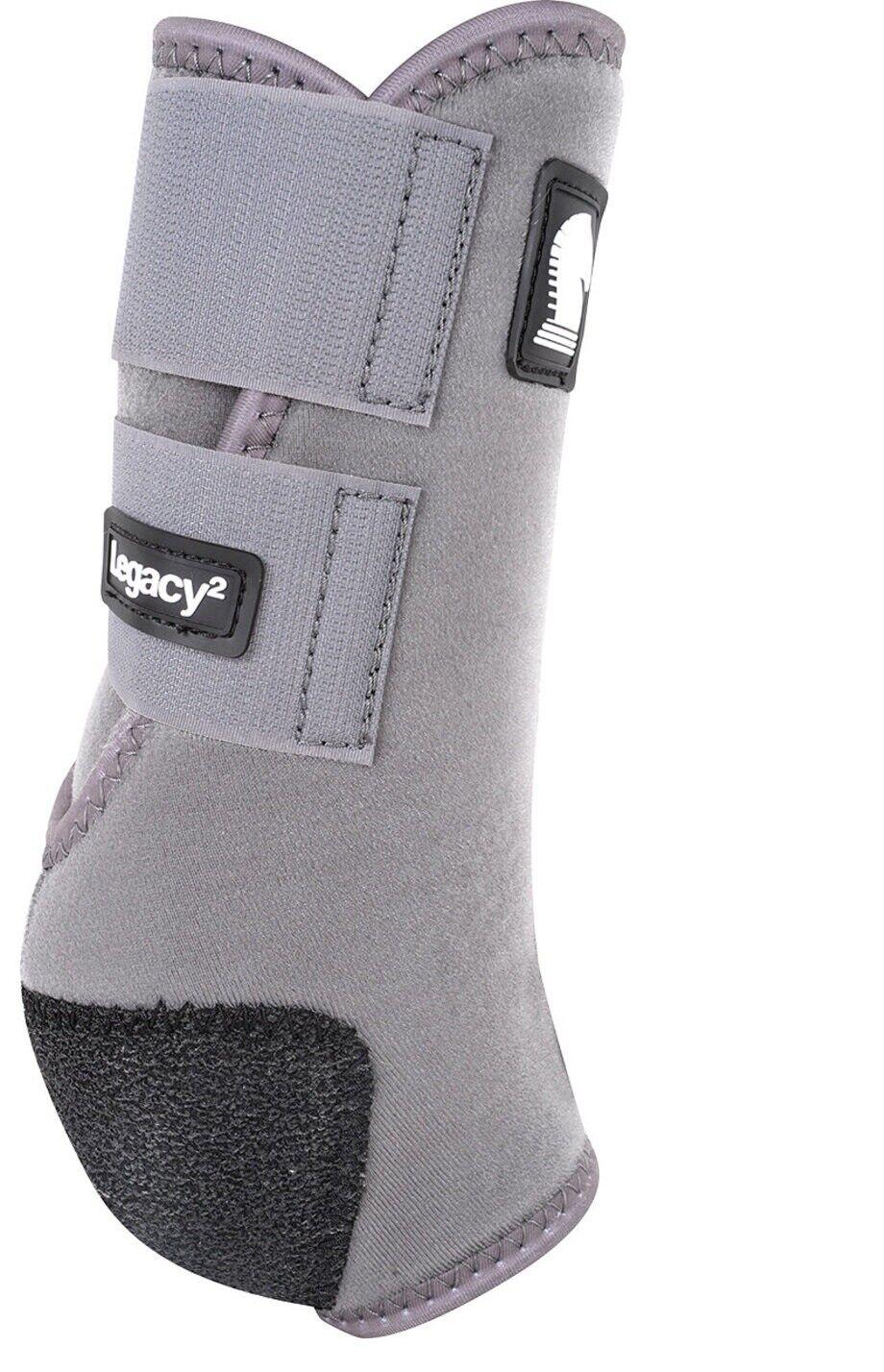 Legacy 2 Hind Schuhe Groß für Pferde Bein Schutz Stütze Stahl Grau