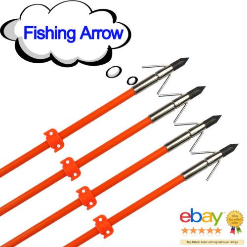 "3x 32/"" Fishing Arrow Fiberglass Solid Arrows Bowfishing Broadhead Stopper Sharp"