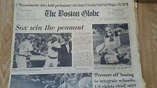 BOSTON GLOBE NEWSPAPER 08-8-1975 RED SOX WIN THE PENNANT