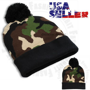 Camouflage Army Camo Beanie Cap Knit Winter Warm Cuffed Mens Women's Pom Pom Hat