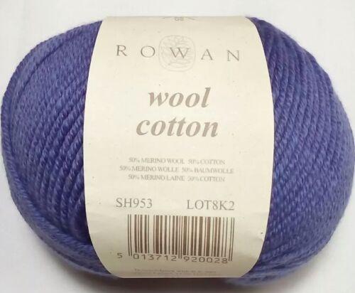 Rowan WOOL COTTON Yarn DISCONTINUED 123y 50g Lt Worsted DK 953 AUGUST Periwinkle