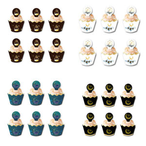 24Sets Eid Mubarak Cupcake Toppers Wrappers Cake Muslim ...