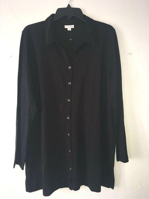 NEW J.JILL XL Button Down Knit Tunic Side Slits Pima cotton/Modal Black