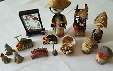 VINTAGE JAPANESE Wooden Porcelain MINIATURE KOKESHI DOLLS Figurines HUGE LOT