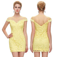 Abendkleid Etuikleid Minikleid Damen Kleid Spitze Kurz Partykleid Cocktailkleid