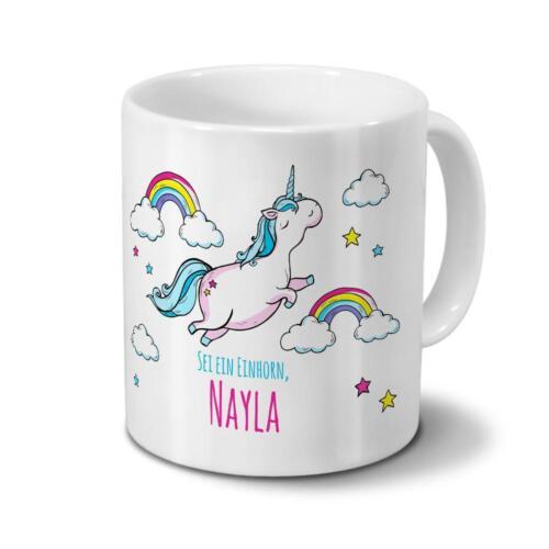 Motiv Dickes Einhorn Tasse mit Namen Nayla