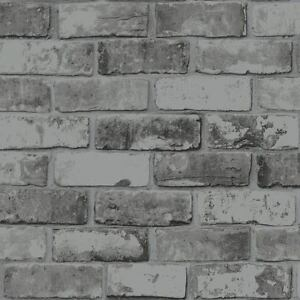 Details About Slate Grey Realistic Brick Wall Faux Wallpaper 3d Effect Rustic Feature 6753