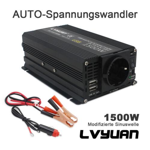 Spannungswandler 1500w Max Wechselrichter Inverter 12V auf 230V auto USB laptop