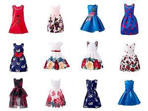 Chica-Verano-vestidos-estampado-de-flores-sin-mangas-a-media-pierna-Princesa