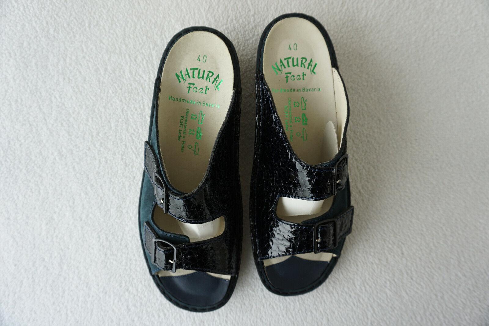 Ortopédico natural feet señora sandalia zapatos velcro talla 41 azul marino de cuero nuevo