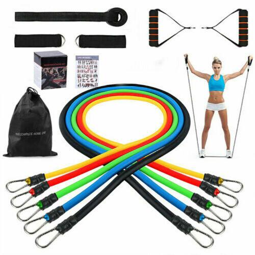 11 PCS Resistance Band Set Workout Bands Yoga Pilates Abs Exercise Fitness Tube
