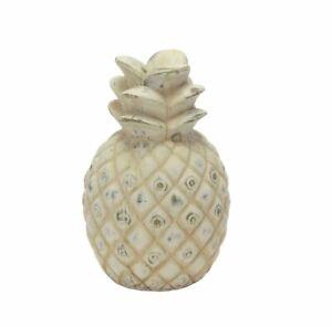 4-STUCK-Deko-Ananas-weiss-gold-farben-Shabby-Chic-Dekofrucht-Tischdeko-Objekt