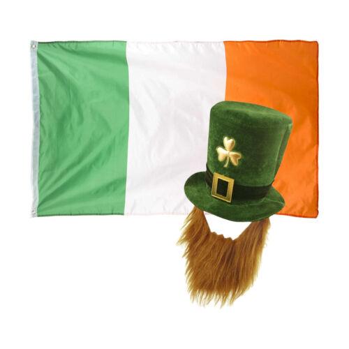 Patrizio Costume Leprecauno Cappello//Barba e Irlanda Bandiera VERDE SCURO S