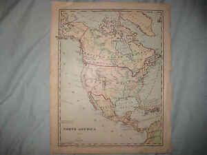 ANTIQUE NORTH AMERICA UNITED STATES CANADA HANDCOLOR PHYSICAL - United states and canada physical map