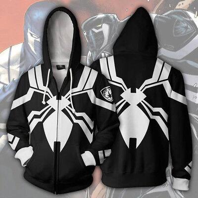 Superhero Venom Spiderman 3D Hoodie Sweatshirt Hooded Jacket Zipper Coat Cosplay