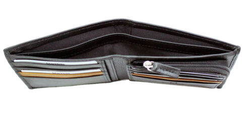 StarHide Mens RFID Real Leather Wallet Purse With Zipper Coin Pocket 110-BLACK