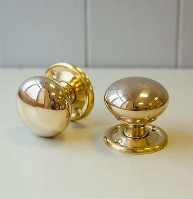 POLISHED NICKEL TRADITIONAL PERIOD COTTAGE BUN MORTICE DOOR KNOBS ATC
