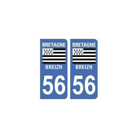 56 Morbihan autocollant plaque Bretagne droits