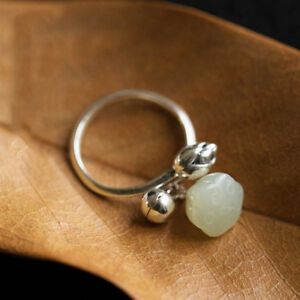 round nephrite and agate ring fine solid s925 sterling silver open ring