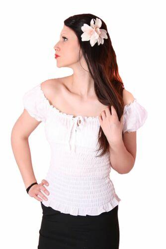 SugarShock 50s PinUp retro Rockabilly Carmen Bluse Gypsy Puffärmel Shirt