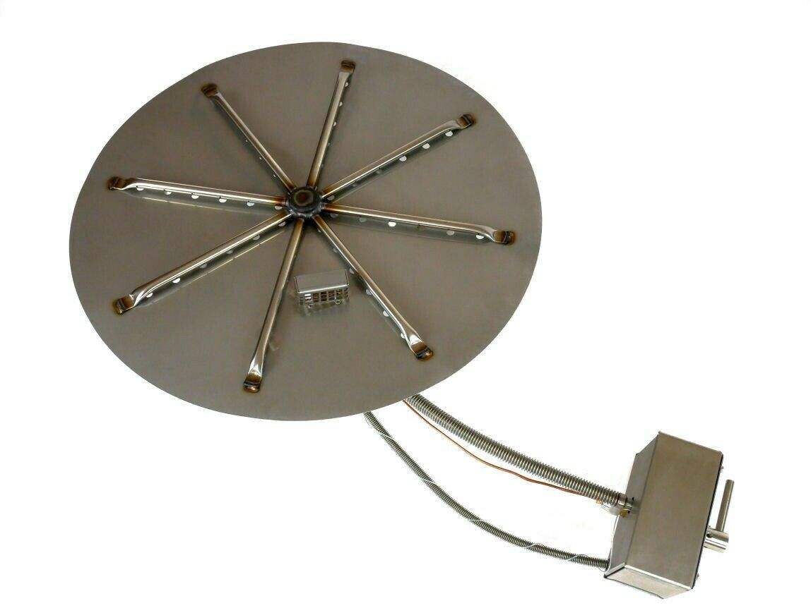 BrightStar Fires Mains Natural Gas Outdoor Fire Pit Burner Kit Round 18kw UK