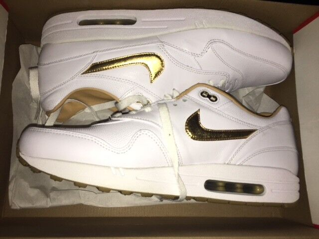 NIKE Air Max 1 One FB Woven Neu leather WhiteGold Gr:47,5 Sneaker 90 95 97 NZ