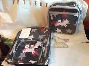 96 Pottery Barn Unicorn Star Backpack Lunch Box Bag