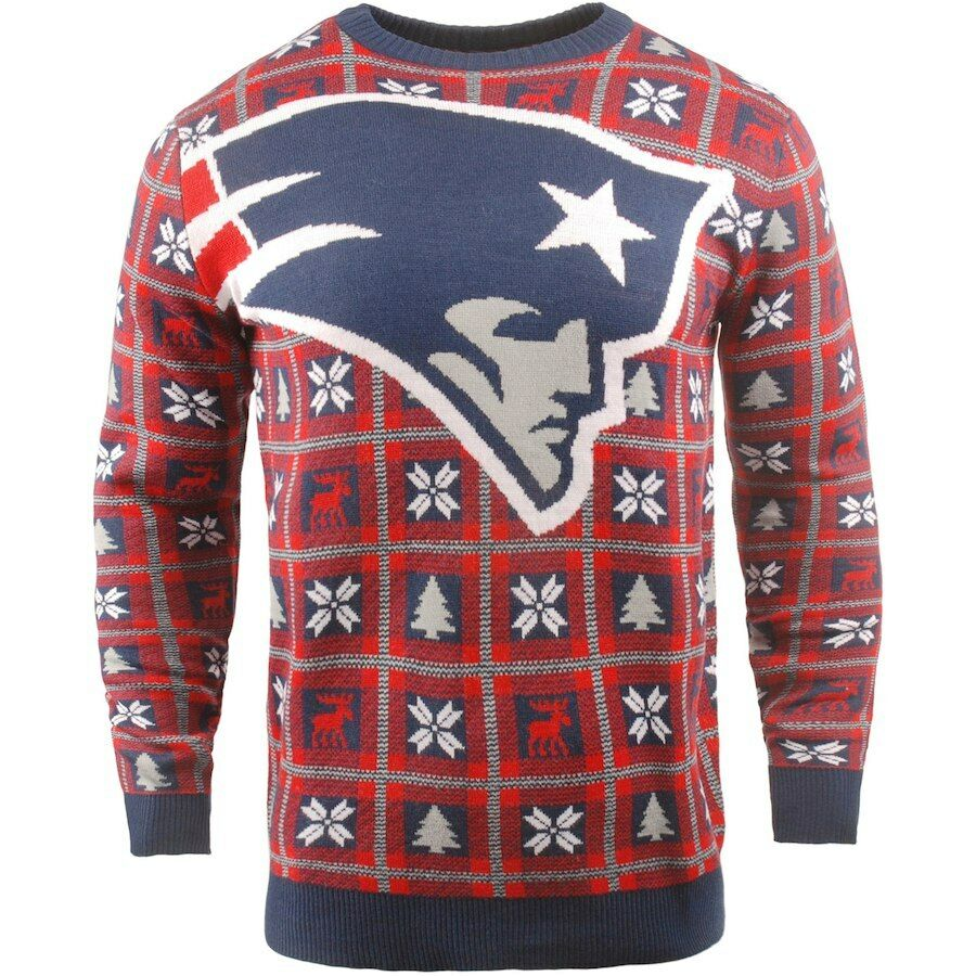 NFL Ugly Sweater Nuovo England Patriots Pullover Christmas Big Logo Football 18