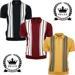 Relco-Mens-Striped-Knitted-Cotton-Acrylic-Polo-Navy-Burgundy-Mustard-Mod-Retro
